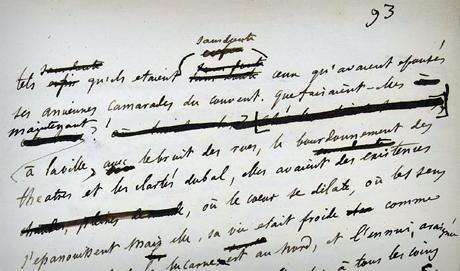 Fragmento del manuscrito de 'Madame Bovary' (www.bovary.fr)