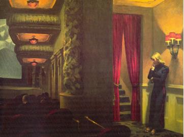 """(""""Cine a la medianoche"""", Edward Hopper)"""