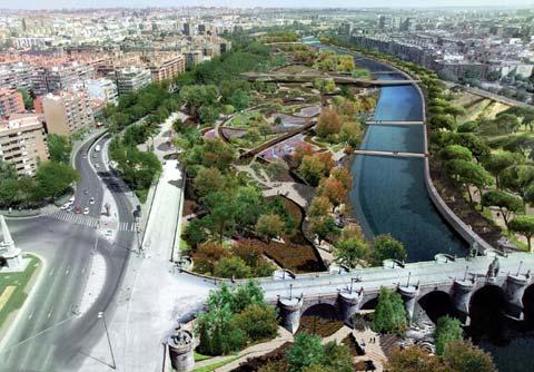 Recreación del Parque de la Arganzuela en Madrid.