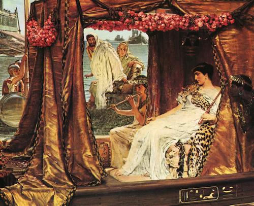 (Cleopatra y Marco Antonio, de Lawrence Alma-Tadema)
