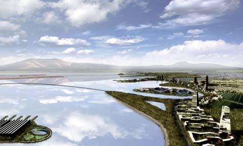 Recreación de una vista posible del futuro lago de Texcoco.