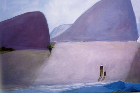 Jorge en la playa con perro, 2003.